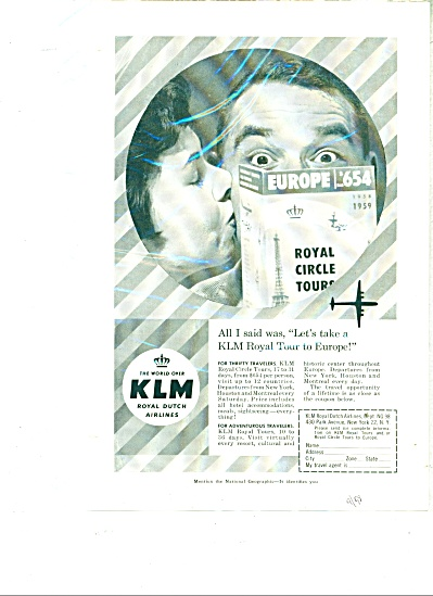 KLM - Royal Duch Airlines ad   1958 (Image1)