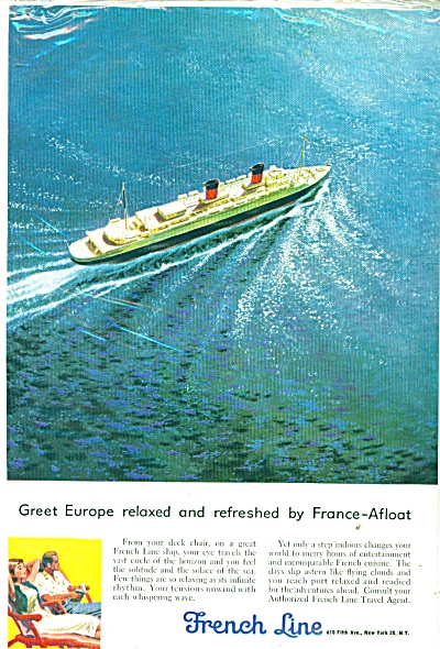 1956 French Line Ocean Liner Ship Ad
