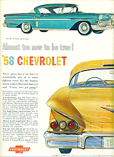 1958 CHEVROLET BEL AIR IMPALA CAR AD (Image1)