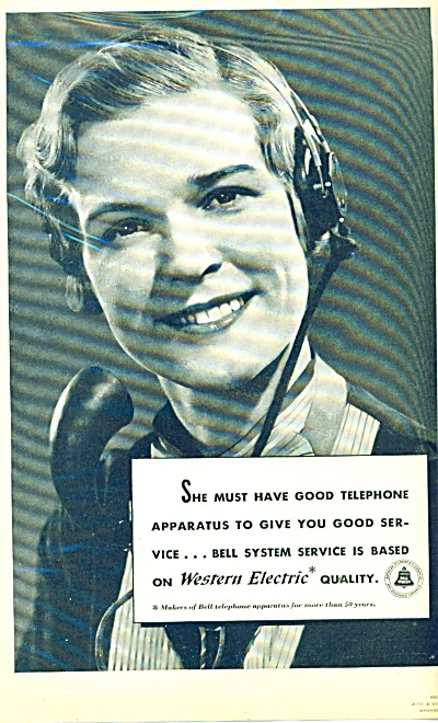 1937 Western Electric Telephone Ad Operator Apparatus