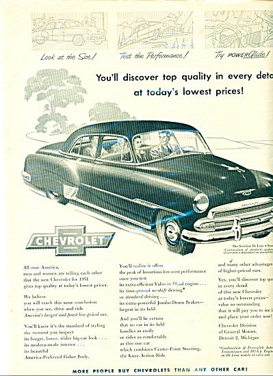 1951 Chevrolet Chevy Car Ad Styleline Cool