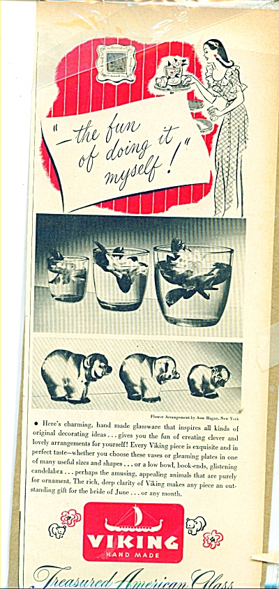 1945 Viking Glass Ad Animals Bowls Ideas +++