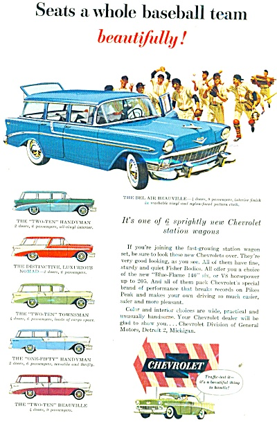 1956 Chevy CHEVROLET Baseball TEAM CAR AD (Image1)