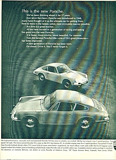 Porsche Automobile Ad - 1966