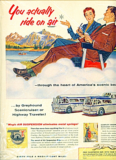 1954 Greyhound Bus Lines AD BONFILS ART (Image1)