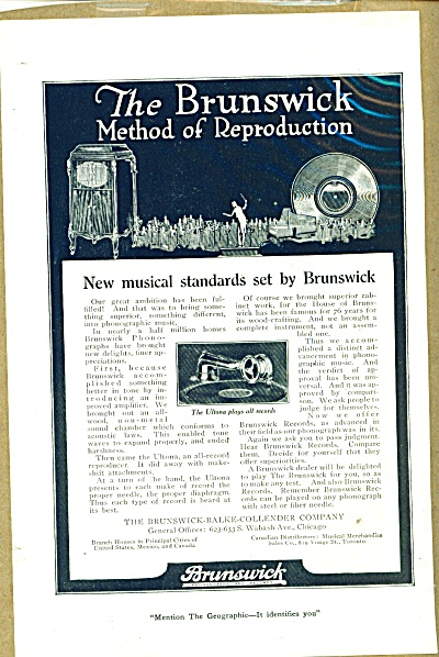 Brunswick  Phonographs and records ad (Image1)