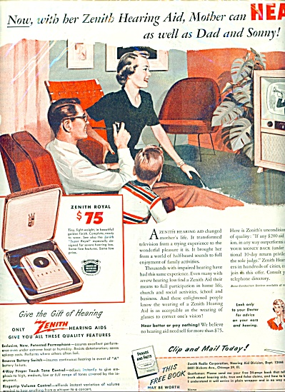 1951 Zenith Hearing Aids Ad