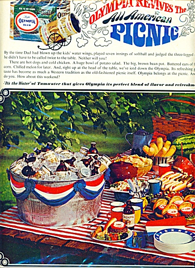 Olympia Brewing Company picnic Beer ad  1966 (Image1)