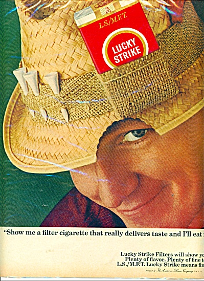 1966 LUCKY STRIKE Cigarettes AD EAT MY HAT (Image1)