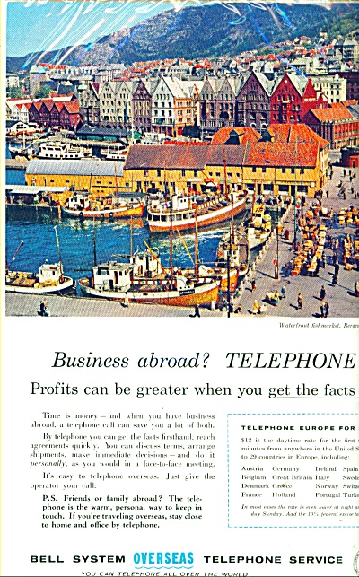 1958 NORWAY Bell system overseas telephone service ad (Image1)