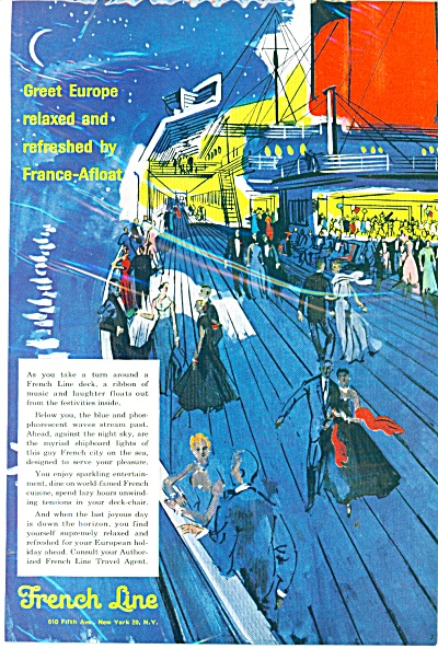 1958 French Line Ship Dancing On The Deck Ad