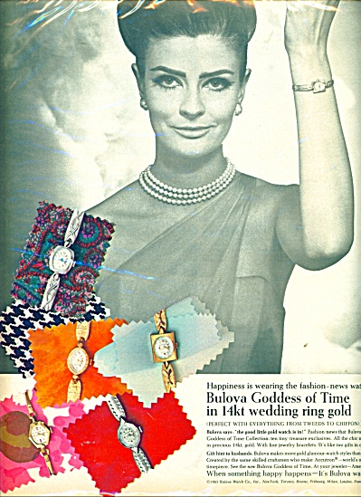 1965 Bulova Goddess WATCHES AD Fashion Model (Image1)
