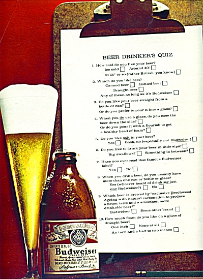 Budweiser beer ad - 1965 (Image1)