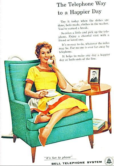 Bell Telephone system ad - 1958 ITS FUN TO PHONE (Image1)