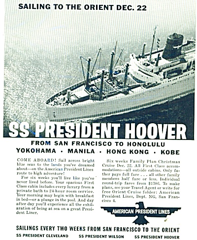1958 American President Lines Ss Hoover Ship