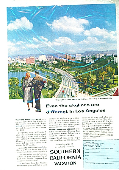 1958 Southern California Travel Vacation Ad W