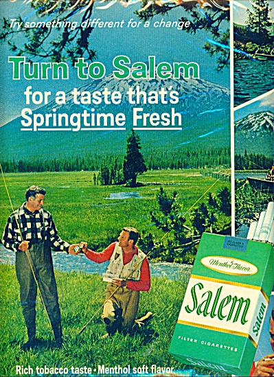 Salem Cigarettes filters ad - 1966 TWO MEN IN WADERS  (Image1)