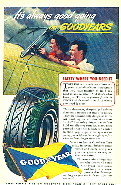 1937 Goodyear Tire AD  COOLEST Convertible (Image1)