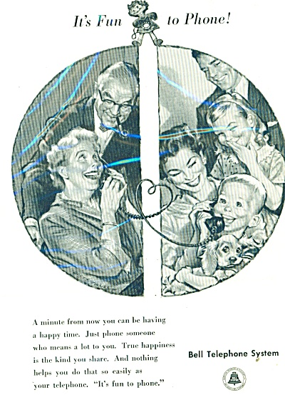 Bell Telephone System ad - 1958 HAPPY TIME (Image1)