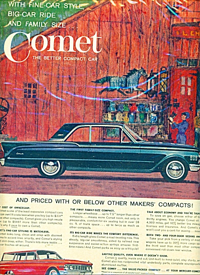 Mercury Comet automobiles ad  1961 BOB PEAK (Image1)