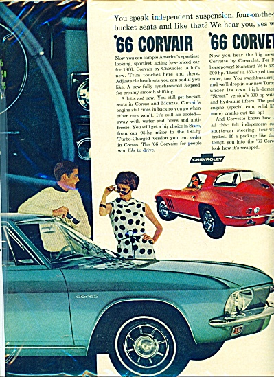 Corvair and Corvette automobiles for 1966 ad (Image1)