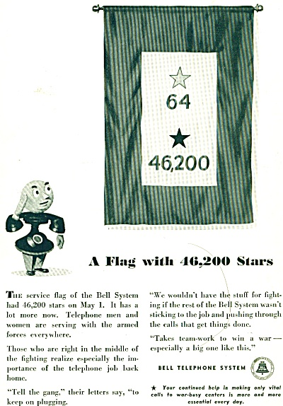Bell Telephone System ad FLAG WITH STARS MILITARY (Image1)