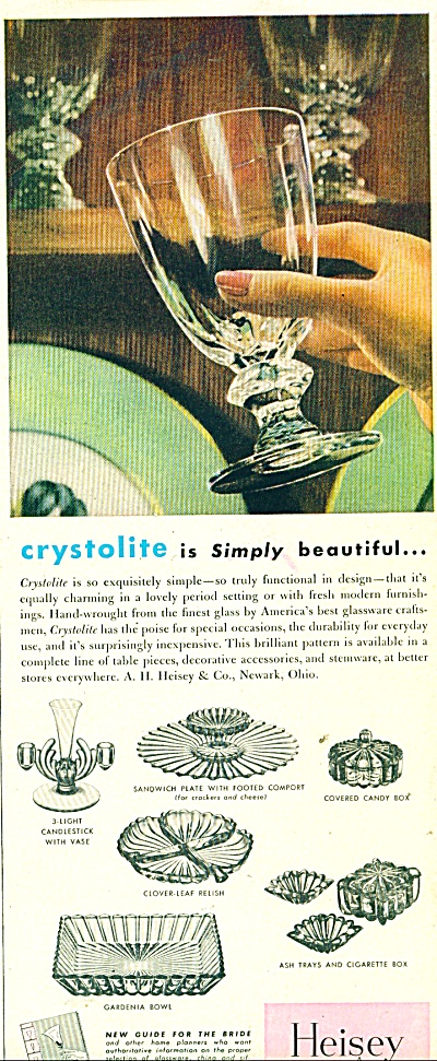 1949 HEISEY Glass Crystolite AD Pieces Listed (Image1)