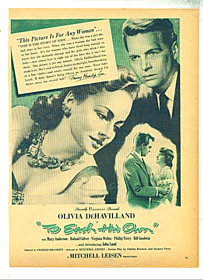 MovieAD 1966  - To Each his Own-  Olivia DeHavilland (Image1)