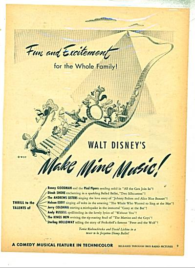 Make Mine Music by WALT DISNEY  ad - 1946 (Image1)