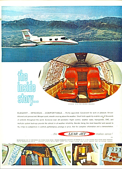 Lear Jet Airplane Ad - 1966