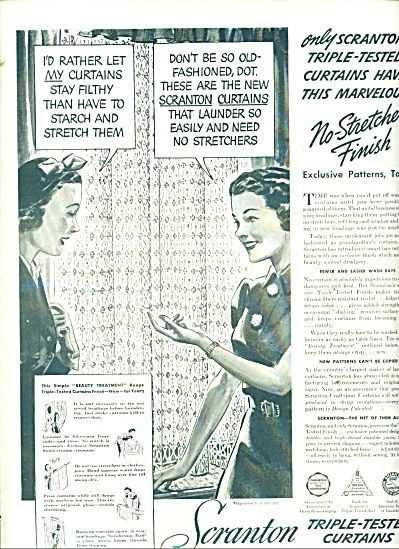 Scranton triple tested curtains ad - 1938 (Image1)
