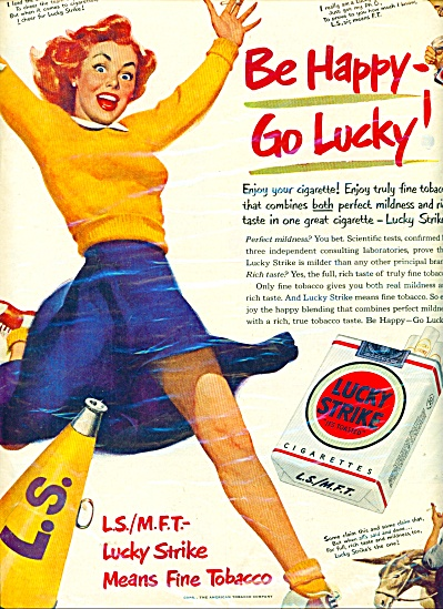 1950 LUCKY STRIKE Cigarettes AD CHEERLEADER (Image1)
