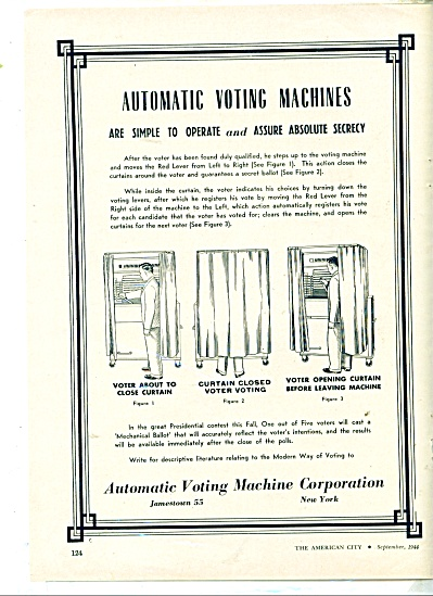 Automatic Voting Machine Corporation Ad -