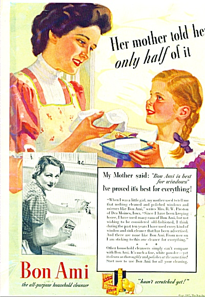 1937 BON AMI AD Mother Daughter ART Mrs. Pres (Image1)