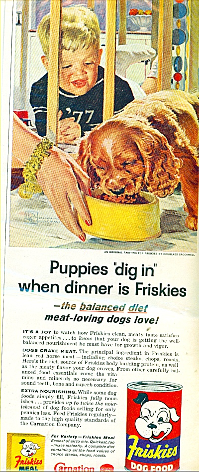 1957 FRISKIES DOG FOOD AD Douglass Crockwell #2 (Image1)