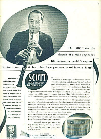 1943 Scott Fine Radio Receivers Ad Oboe