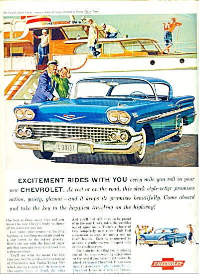 1958 Chevrolet IMPALA AD - YACHT LADY ARTWORK (Image1)