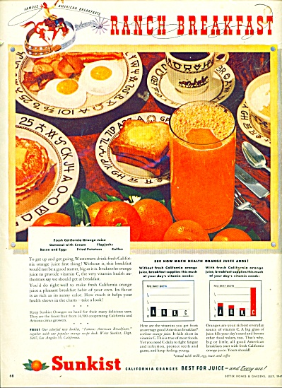 Sunkist California oranges ad - 1947 (Image1)