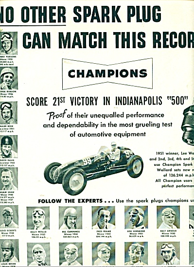 Champion spark plugs  ad 1951 (Image1)