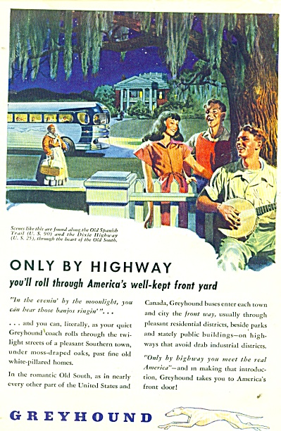 1946 Vintage Greyhound Ad Old South Dixie (Image1)