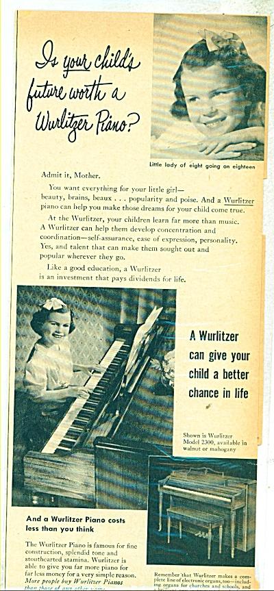 Wurlitzer pianos ad - 1950 (Image1)
