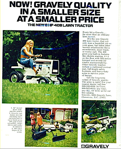 Gravely Lawn Tractor Ad = 1971