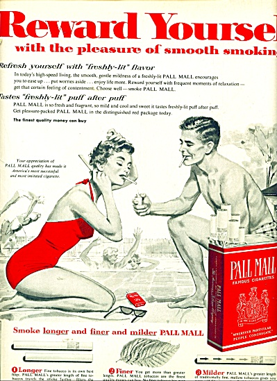 1955 Pall Mall cigarettes AD Swim COUPLE ART (Image1)