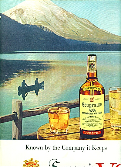 1955 Seagram's Vo Canadian Whisky Ad Boating