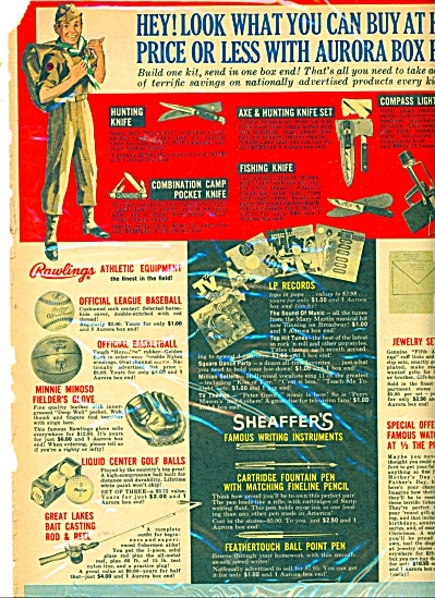 Aurora Plastics items for sale ad - 1960 ad (Image1)