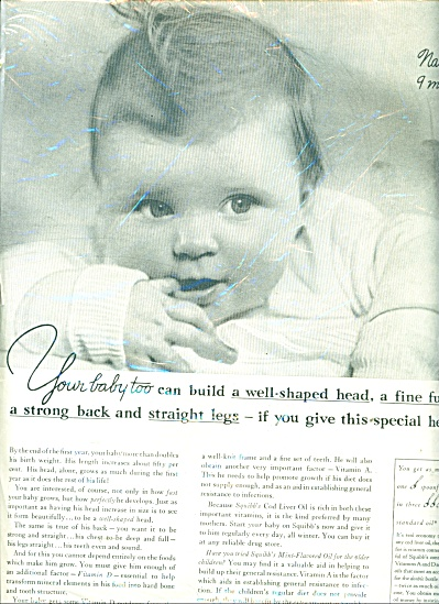1937 Squibb's Cod-Liver oil ad Beautiful BABY (Image1)