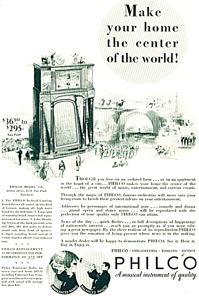 Philco Musical Instrument Of Quality Ad 1932