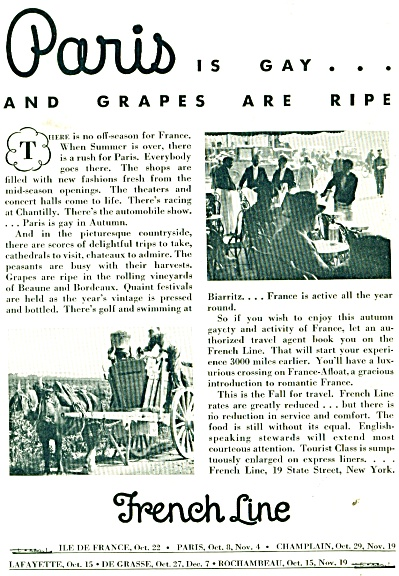 1932 French Line Ship AD PARIS IS GAY Grapes (Image1)
