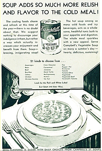 Campbell's Vegetable Soups Ad - 1932 #2