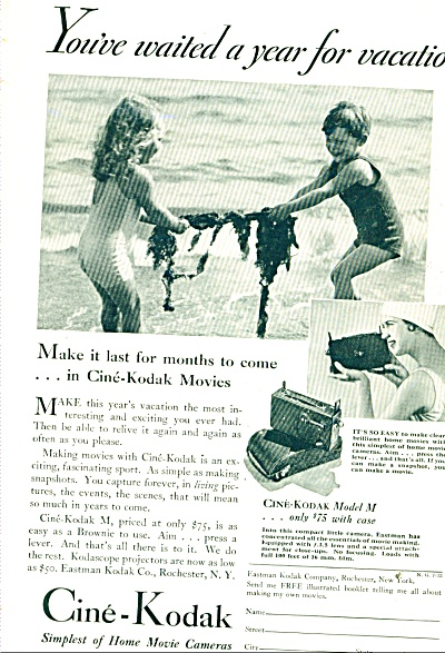 1932 Cine-Kodak cameras ad Boy ~ GIRL Bathing Suits VTG (Image1)